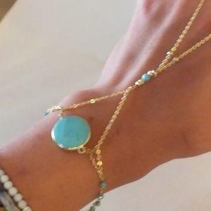 Turquoise Bracelet with Finger Lasso